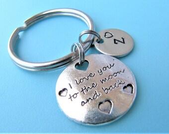 I Love You to the Moon and Back Keychain, Love Keychain, Initial Keychain, Personalized Keychain, Cute Keychain, Quote Keychains, Custom Key