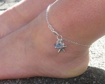 handmade glass dp and frosted sea turquoise anklet amazon com