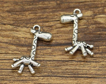 15pcs Giraffe Charms Animal Charms Antique Silver Tone 17x28mm CF2921