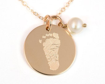 Footprint Necklace with Your Child's Actual Foot Print - 14k Gold Fill - Personalized Foot Print Necklace - Gold Footprint Necklace