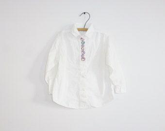 Vintage White Shirt with Clocks