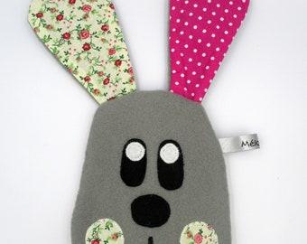 Wallet rabbit, pink gray-green, clutch, fabric cotton, 20 cm height