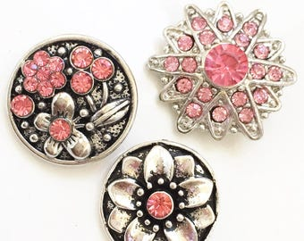 snap jewelry pink rhinestone and siver tone metal interchageable 18mm snap charms