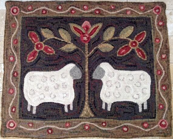 """Rug Hooking PATTERN, Two Sheep, 28"""" x 36"""", J436, Folk Art Sheep, DIY Primitive Sheep Design"""