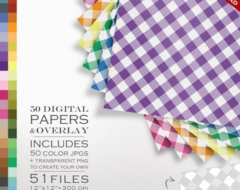 80% OFF SALE Digital Scrapbook Gingham Paper Pack - 50 Colors & Overlay to DIY - Digital Scrapbook Paper Digital Paper Checked Plaid Check