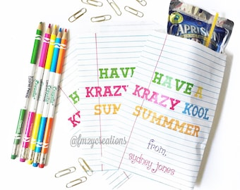 End of the School Year Gift, NOTEBOOK Party Personalized Favor Bags, End of the School Year Parties, Graduation, Teacher Gift