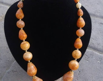 Faux Amber Beaded Necklace Graduated Plastic
