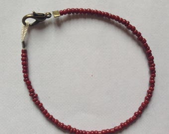 Bracelet Brown/Brown seed bead and bronze clasp