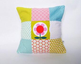 SALE Cushion Pillow Mustard Pink Orange Modflower Modern Patchwork Cover