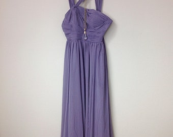 Gorgeous Vintage Diaphanous Elegant Smoky Violet Purple Maxi Dress, Romantic Old Hollywood Style