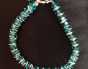 Swarovski blue zircon beaded bracelet