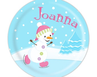 Snowman Personalized Plate - Winter Ice Frozen Snowman Dinner Plate, Little Pink Snowman Melamine Plate - Kids Personalized Gift under 25