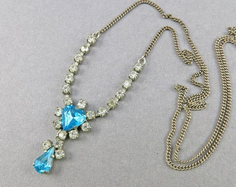 Vintage Chain Necklace With Rhinestones and Faceted Blue Glass Drop Pendant Necklace Vintage Jewellery