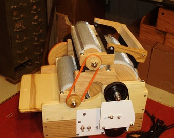 S C P Standard Triple Drum Electric Carder with Brush, 90/90/120 tpi