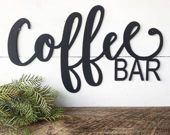 """Coffee BAR Metal Sign - 24"""" or 36"""" Metal Wall Art - Coffee Bar Sign - Metal Words - Coffee Station-Metal Signs-Coffee Mug-Mug Rack-Kitchen-A"""