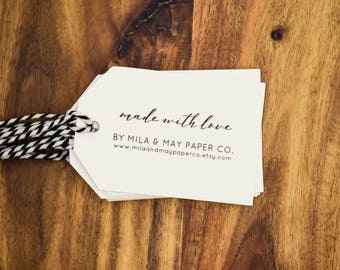 Personalised Made with Love Tags Custom Gift Tags Product Tags Card & Twine