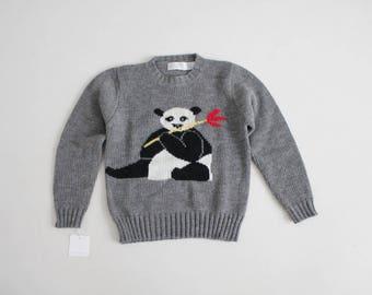 panda sweater   1980s sweater   grey sweater
