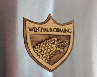 Winter IS Coming! Stark Sigil With Mounting Magnet - Hand Stained Laser Cut Wood