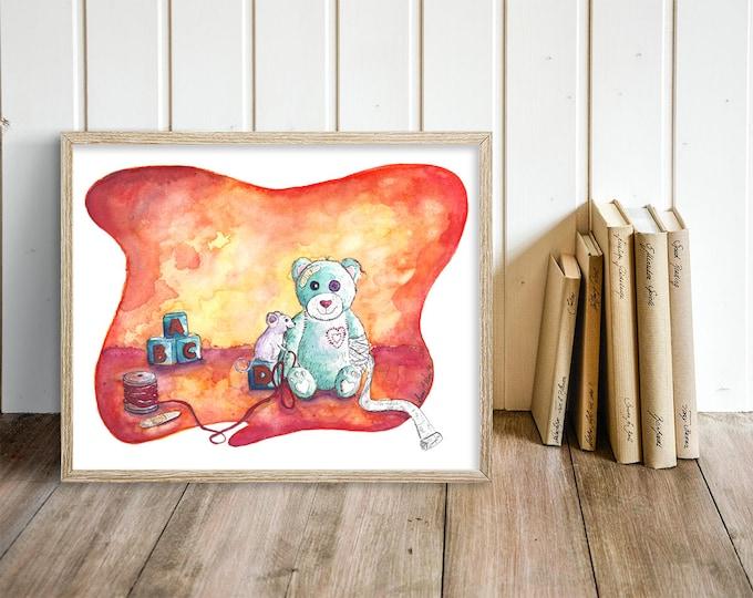Unique Nursery Wall Art - Teddy Bear Nursery Painting -  Orange Bear & Mouse Watercolor Art Print - Gift for Nurse Doctor Pediatrician