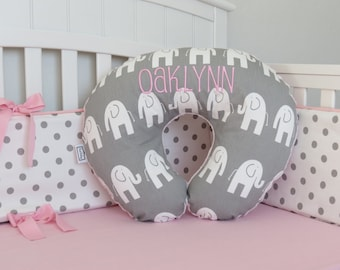 Elephant and Minky Boppy Cover - Boppy Pillow Cover, Minky Nursing Pillow, Pink, Blue, Purple, Yellow, Brown, Black, Red, Gray, Green