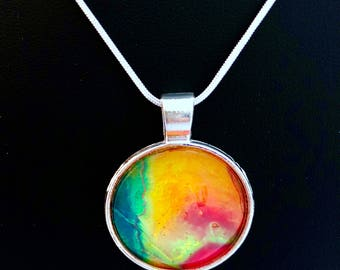 Rainbow - Sunshine Motion - Fluid Art Jewelry - One of a kind Art - Handmade Necklace - Bridesmaid Gift - Mother's Day Gift - Round Glass