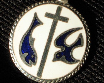 Trinity Vintage Necklace Catholic Pendant Confirmation Father Son Holy Spirit Cross Dove Fish Jesus Guilloche Ichthys Ikhthus Christ Savior