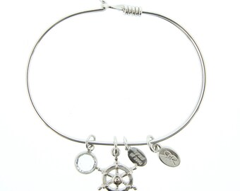 Silver Ship's Wheel Bracelet with Swarovski Crystal