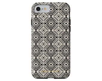TILES black and white geo tile print iPhone X, iPhone 8/8 Plus, iPhone 7/7 Plus, iPhone 6/6s, iPhone 6/6s Plus case, Samsung Galaxy S6