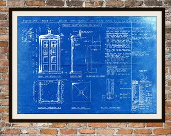 Tardis Print Poster, Dr Who Blueprint, The Tardis Blueprint, Art of The Tardis, Whovian Gift - Police Box Print Art Item 0101