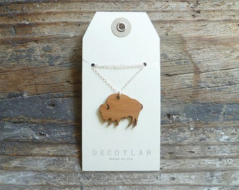 Buffalo Necklace with Sterling Silver Chain