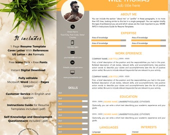 Creative and Professional Resume Template CV for Word and Pages (1 Page + Cover Letter with References + Fonts + Icons) Instant Download