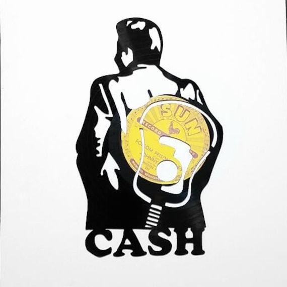 Johnny Cash Handmade Vinyl Record Art. The Man in Black Cash.
