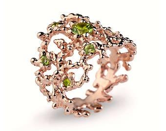 CORAL Peridot Ring, Rose Gold Peridot Ring, Statement Ring, Rose Gold Ring, Wide Gold Ring, Nature Inspired Ring, Mothers Day Gift