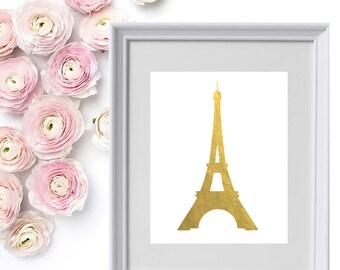 Gold Foil Eiffel Tower Print Instant Digital Download
