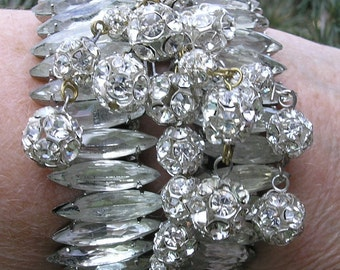 VINTAGE Couture One Of A Kind  SORRELL ORIGINALS Runway Clear Stones Clamper Hinged Bracelet  made by  Robert Sorrell