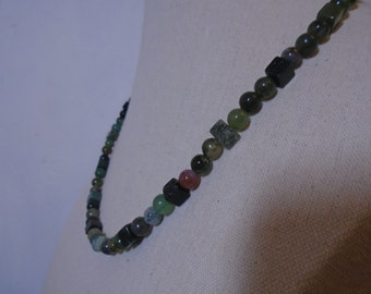 Indian Agate Necklace, Stone Necklace, Green Necklace.
