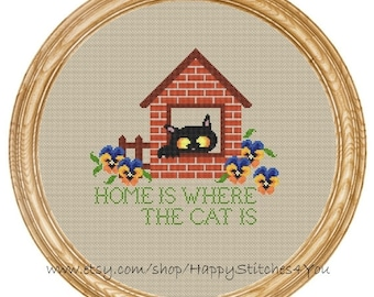 Cross Stitch Pattern PDF cat home is where the cat is DD0193