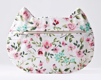 White Floral Cosmetic Bag, Cat Makeup Bag School Supplies Boho Bag Romantic Pencil Case Cat Lover Gift Zipper Bag, Toiletries Bag Pills Case