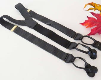 BLACK & GRAY HERRINGBONE Woven Suspenders from Cas Germany w Brass Accents and Black Leather Button Holders / Men-Women Birthday - Xmas Gift