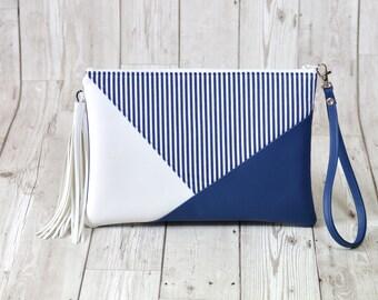 Navy clutch bag, Envelope clutch, Navy blue clutch purse with tassel Vegan leather purse Evening Bag navy stripe bag wristlet purse Boho bag
