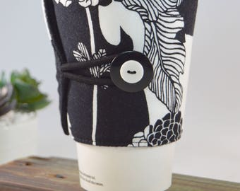 Flowered Coffee Sleeve Tea Cozy for Tapered Cups, Floral Novelty Travel To Go Present, Adjustable Fabric Java Jacket, Drink Carrier Holder