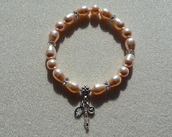 Stretch Bracelet - Swarovski Peach Pearls