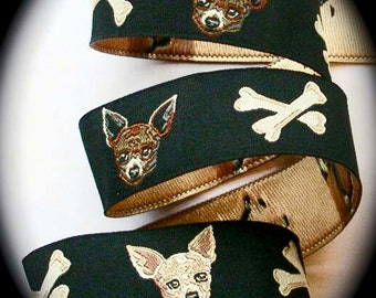 "Chihuahua  Ribbon 1"" x 2 Yards - Black, Brown and Tan Jacquard - Woven Jacquard Ribbon"
