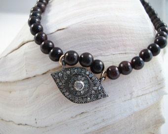 3mm black onyx bead bracelet with 18mm genuine pave diamond greek eye, evil eye connector charm