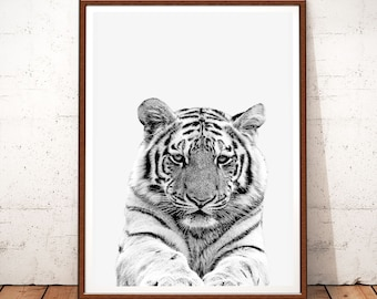 Animal Print, Tiger Art Print, Animal Safari, Animals Print, Safari Nursery, Tiger Photo, Black and White, Tiger Wall Art, Tiger Printable
