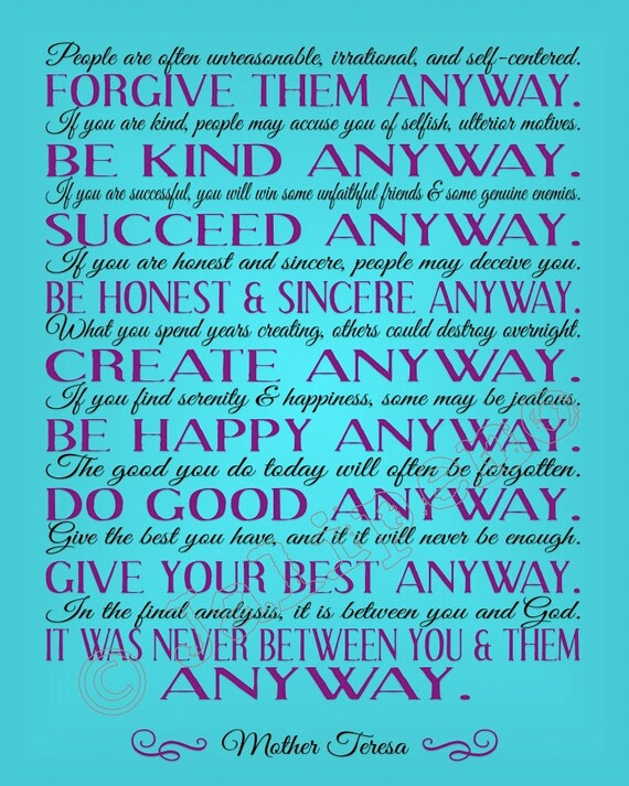 Items Similar To Mother Teresa Do It Anyway Quote   INSTANT DOWNLOAD  Printable Charity Kindness Love Christian Wall Art Home Office Decor Teal  Blue Purple ...