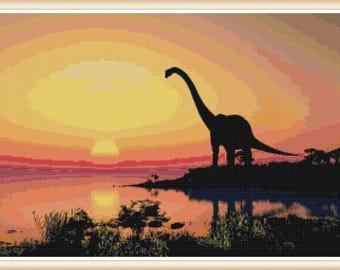 Dinosaur Cross Stitch Pattern - Dinosaur - Prehistoric Cross Stitch - PDF Download