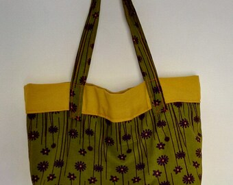 Bag Tote in khaki and cotton wax mustard