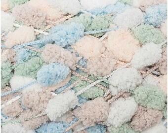 RICO CREATIVE Pompon print Pelote de petits pompons multicolores beige et vert 200g 100m