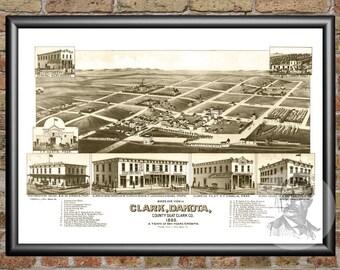 Clark, South Dakota Art Print From 1883 - Digitally Restored Old Clark, SD Map Poster - Perfect For Fans Of South Dakota History